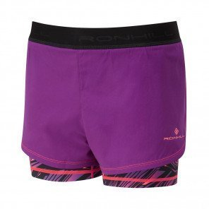 RONHILL SHORT MOMENTUM TWIN Femme | GRAPE JUICE/HOT CORAL
